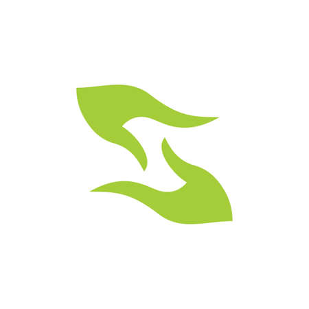abstract hand palm care green leaf design logo vector