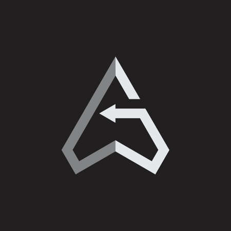 letter g triangle arrows geometric line logo vector