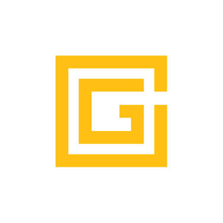 letter g simple square geometric line logo vector