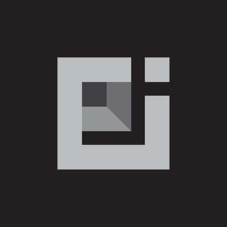 abstract letters rj simple geometric square 3d logo vector Illusztráció