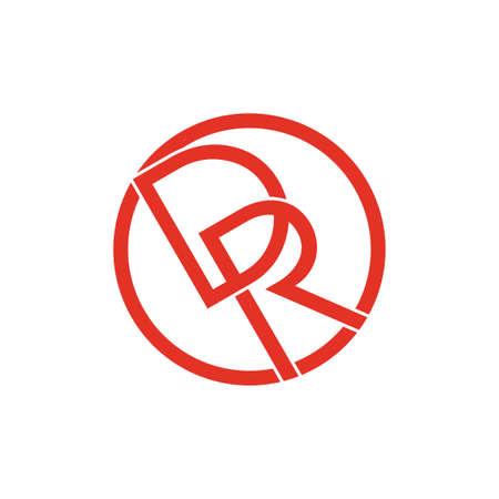 letters dr linked lines monogram flat logo Illustration
