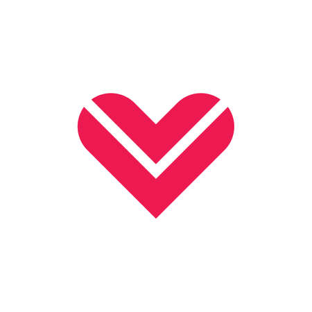 abstract letter v stripes geometric love shape logo
