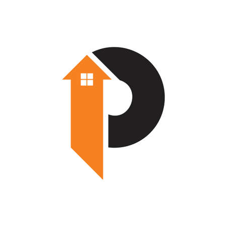 abstract letters p home arrow logo vector