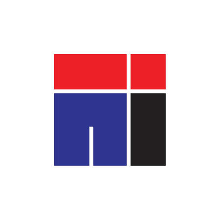 letter in simple square geometric logo Logó