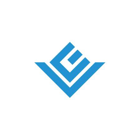 letters ev simple geometric line logo vector
