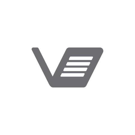 letter v paper text symbol logo vector