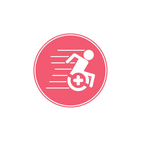 fast plus medical treatment wheel chair symbol vector Illustration