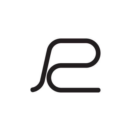 letter r simple street line logo vector