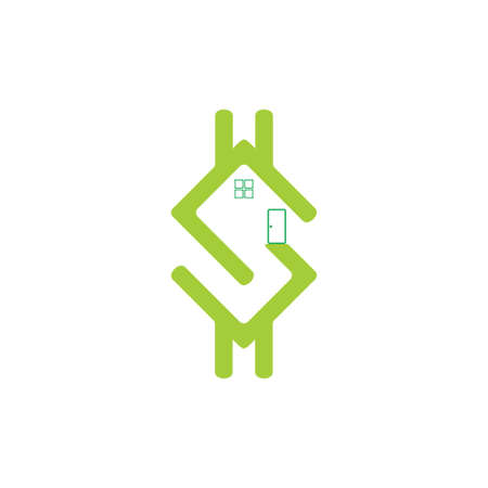 letter s money dollar home symbol vector