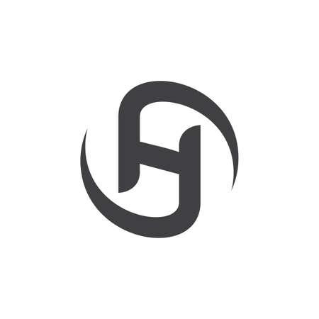 letters sh circle rotation logo
