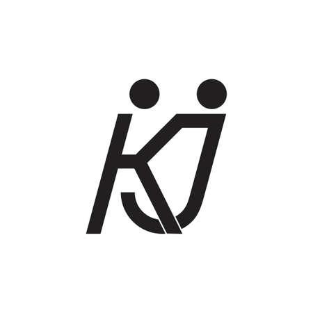 letters kj abstract people holding hand logo vector Illusztráció
