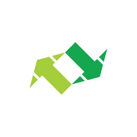 simple two opposite arrow geometric symbol vector