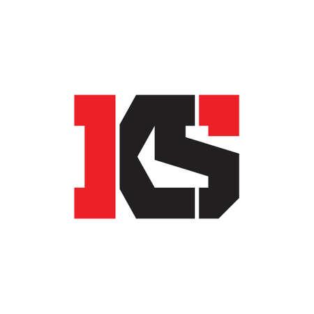 letters ks simple geometric linked logo