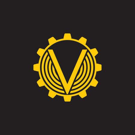 lettre v cog machine vecteur logo industriel Logo