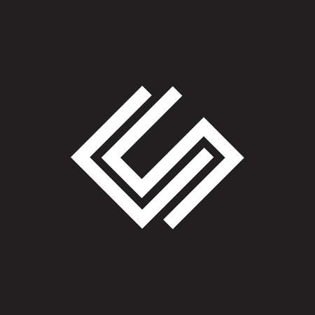 abstract letters cs geometric line logo vector