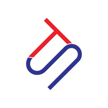 letter st simple geometric line logo vector