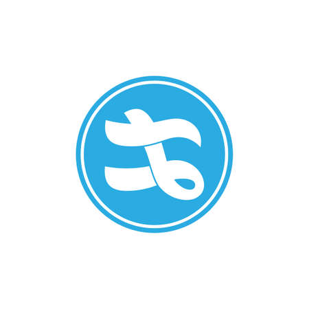 abstract letter t blue wavy design logo vector