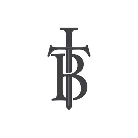 letters tb sword shape logo vector