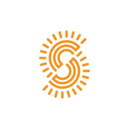 letter cs sun geometric line logo vector Logó