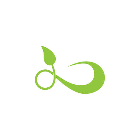infinity leaf simple logo vector