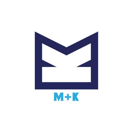 letters mk simple geometric line logo vector