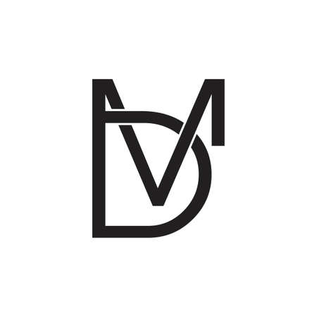letters md simple linked line logo vector