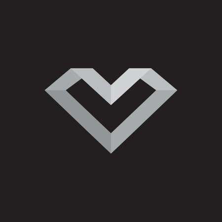 abstract letter mv 3d geometric gradient logo vector