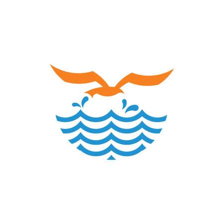 bird in the sea waves geometric simple logo