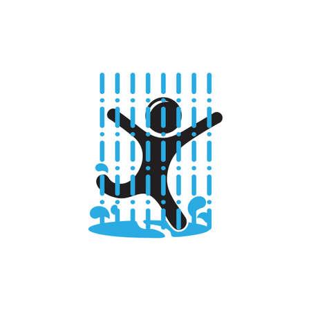 kid playing in the rain water splash symbol decor logo vector Illustration