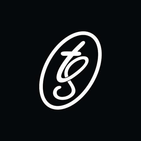 letters ts curves motion design logo vector