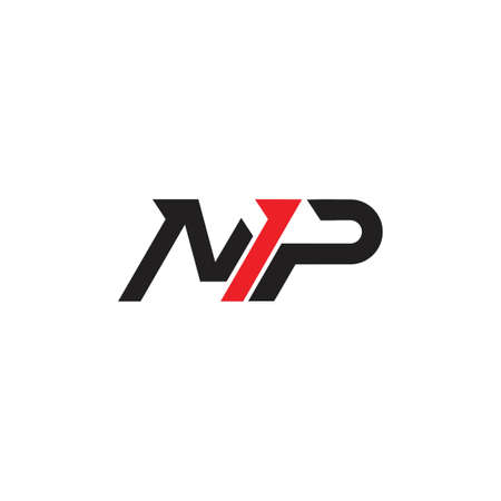 abstract letter np simple arrow geometric logo vector  イラスト・ベクター素材
