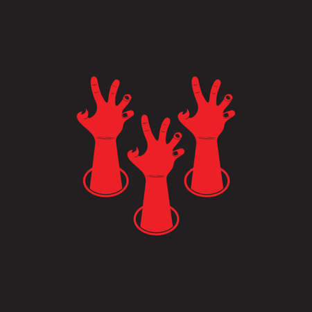 scary hand come out from ground decoration vector