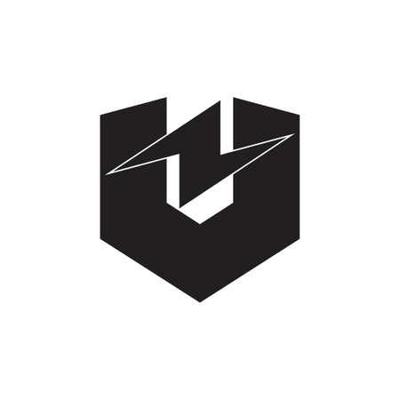 letter vz thunder shape simple geometric logo vector energy Logó