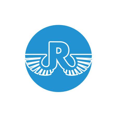 letter r wings design logo vector
