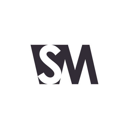 letters sm simple geometric logo vector