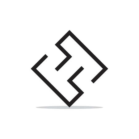 letter ht abstract line simple logo vector