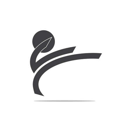 jump kick karate people shadow design logo vector
