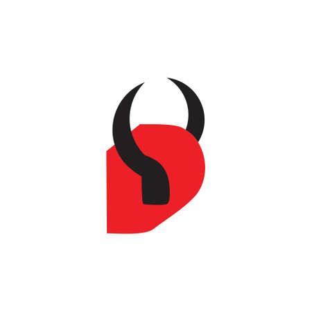 letter d devil horn logo vector Illustration