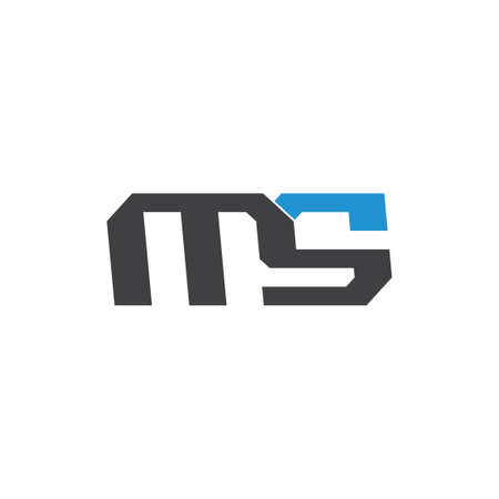 letter ms simple linked geometric logo vector