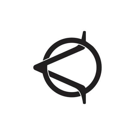 abstract letter ko linked arrow logo vector