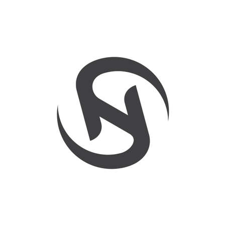 letters sn circle rotation logo vector