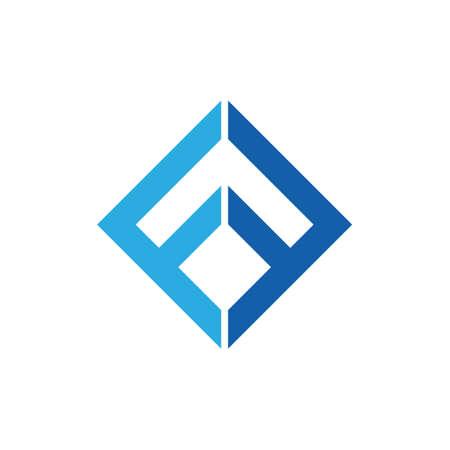 letter ff square geometric line logo vector