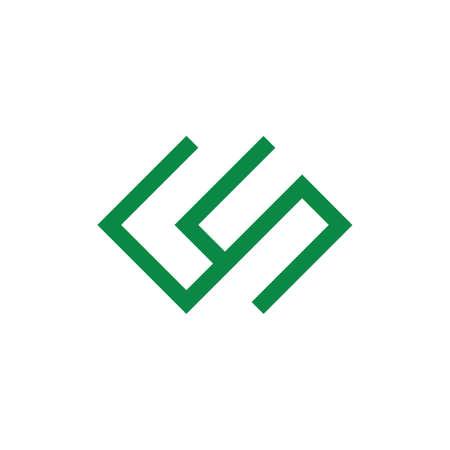 abstract letters cs geometric line logo vector Ilustração