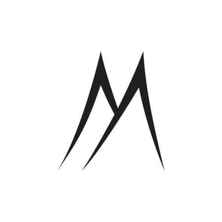 letter m simple mountain shape logo