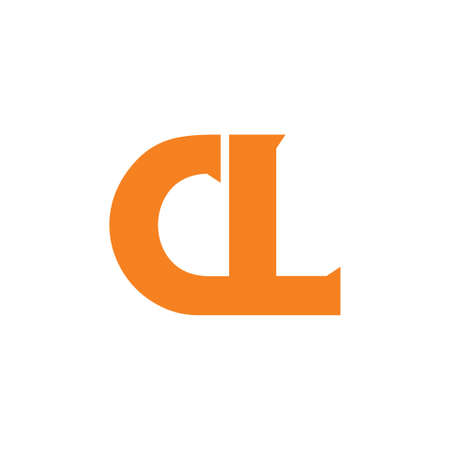 letter cl simple linked logo vector