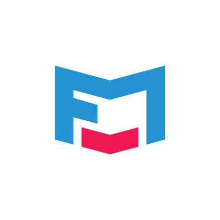 abstracte brieven fm eenvoudige geometrische logo vector Logo