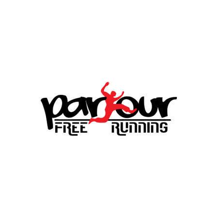 parkour jump people free running symbol vector Illustration