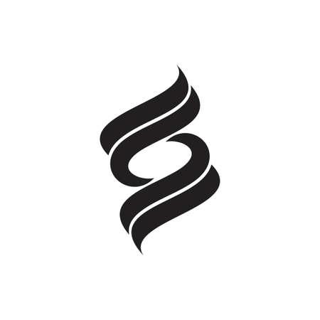 simple letter s curves stripes ribbon rotate logo vector Logo