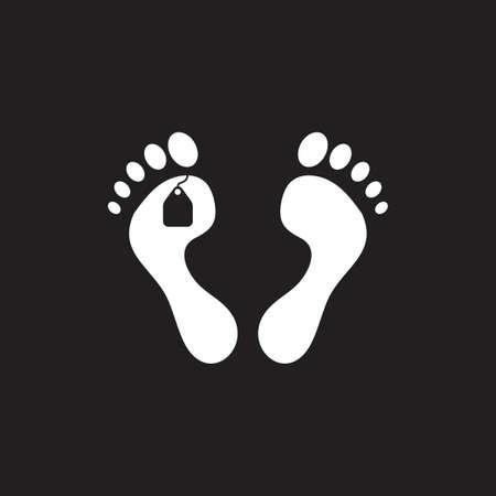 pies, etiqueta, cadáver, símbolo, vector