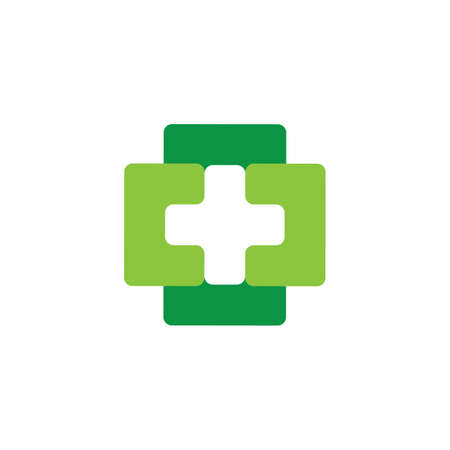 linked simple square geometric plus medical logo vector Vectores